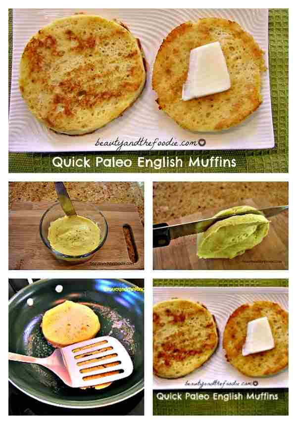 Quick Paleo English Muffins pinstructions. Grain free and low carb / beautyandthefoodie.com