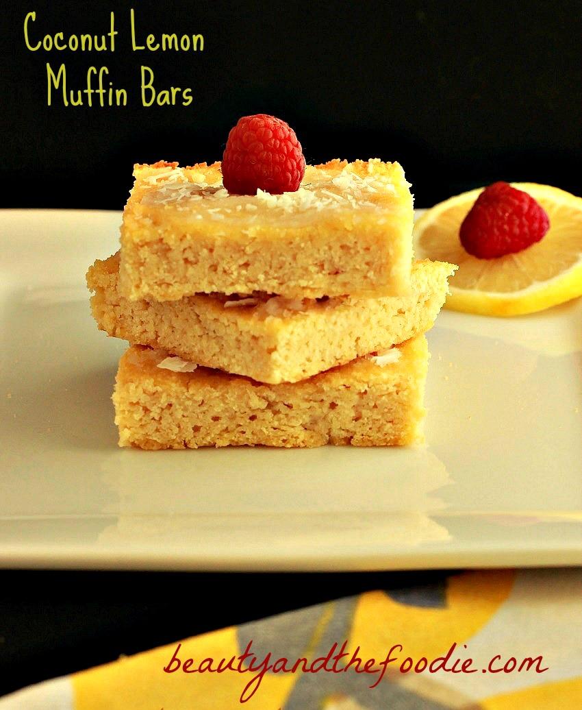 coconut lemon muffin bars paleo / beautyandthefoodie.com