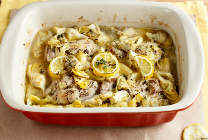 Baked Lemon Artichoke Chicken Piccata- Low Carb & Paleo