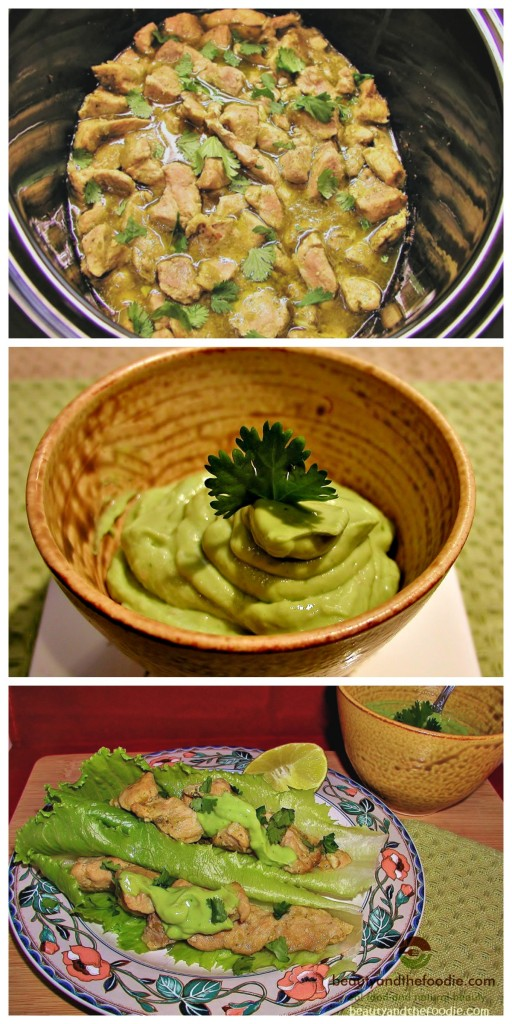 Paleo Crock Pot Chile Verde Tacos with Avocado Cilantro Lime Sauce, primal, paleo and low carb / beautyandthefoodie.com