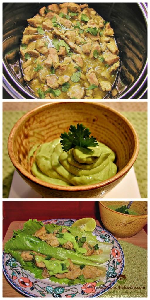 Paleo Crock Pot Chile Verde Tacos with Avocado Cilantro Lime Sauce, primal, paleo and low carb / beautyandthefoodie.com