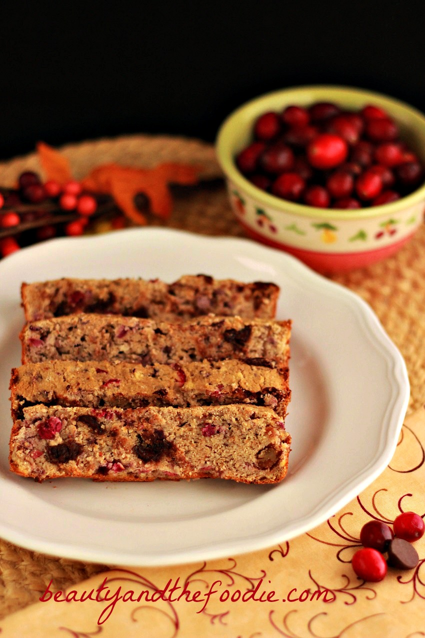 chocolate chip cranberry pecan bread. grain free/ beautyandthefoodie.com