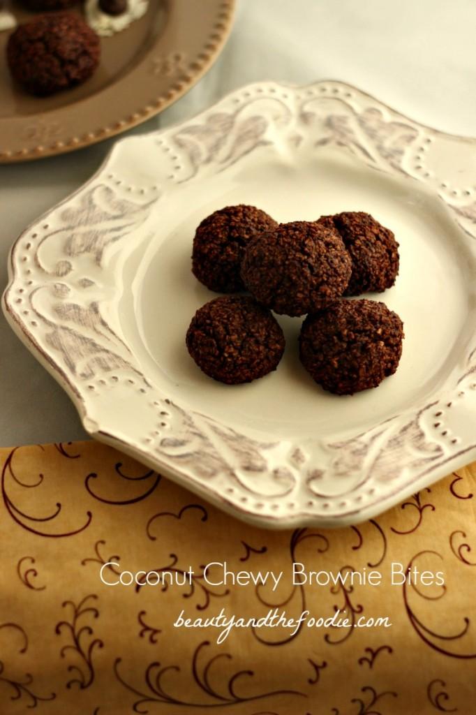 Paleo Coconut Chewy Brownie Bites/ beautyandthefoodie.com