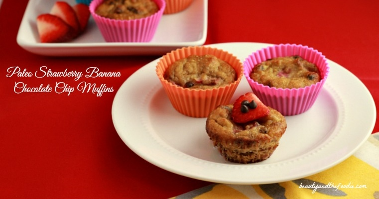 Paleo Strawberry Banana Chocolate Chip Muffins