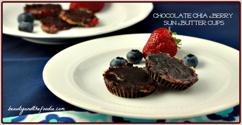 Chocolate Chia Berry Sun Butter Cups, Paleo / beautyandthefoodie.com