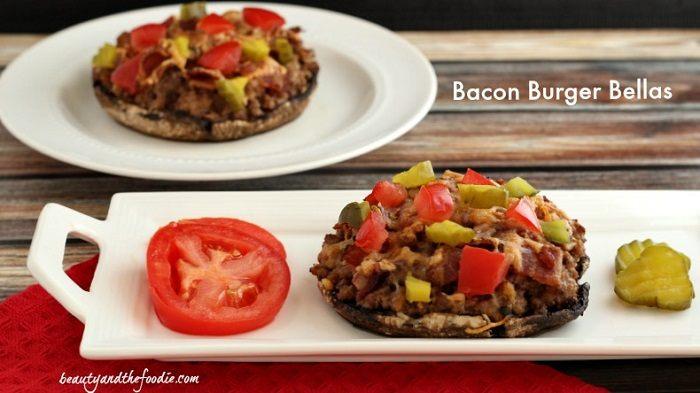 Bacon Burger Stuffed Portabellos / beautyandthefoodie.com