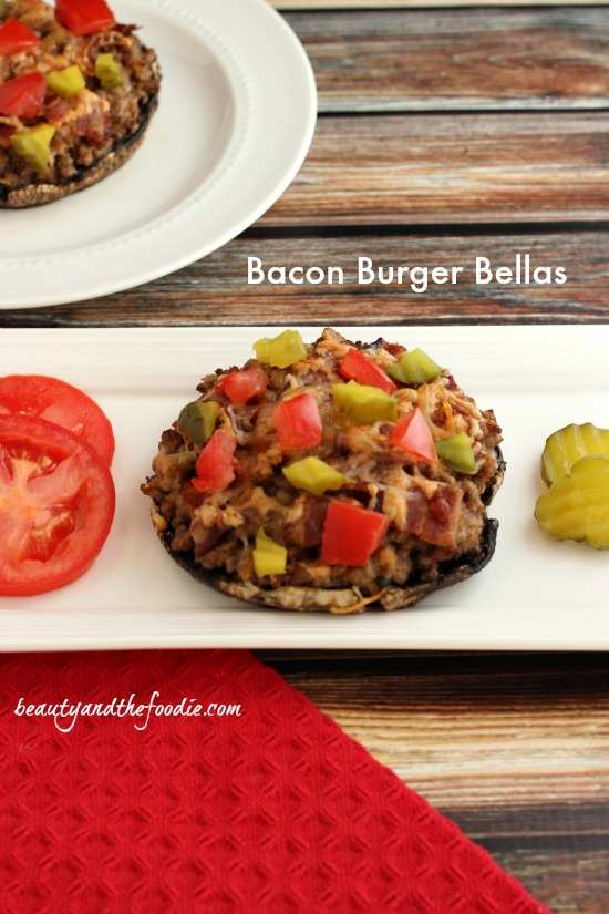 Bacon Burger Stuffed Portabellos / beautyandthefoodie.com