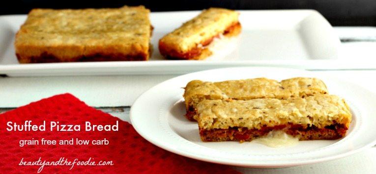 Grain Free Stuffed Pizza Bread, low carb primal / beautyandthefoodie.com