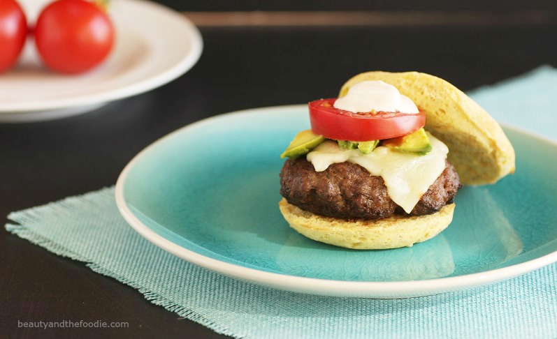 Taco Burgers with chipotle Mayo on a Paleo Bun- paleo and low carb