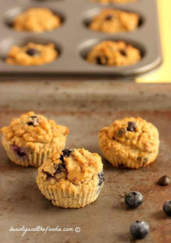 Chocolate Chip Blueberry Fiber Muffins, grain free, paleo and low carb