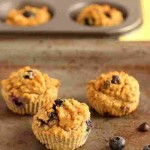 Chocolate Chip Blueberry Fiber Muffins, grain free and low carb