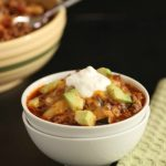 Easy Chili Faux Mac. grain free, low carb, easy one skillet meal