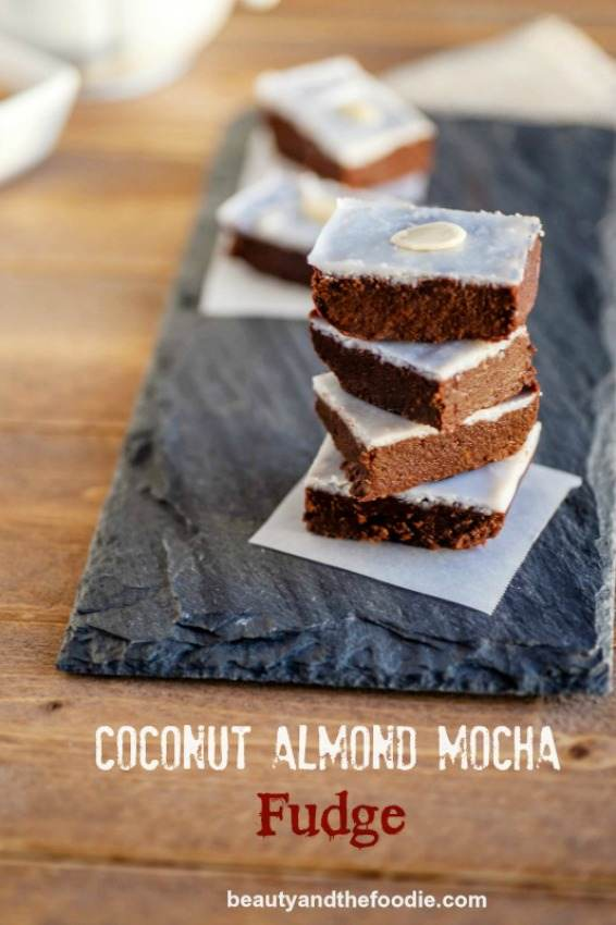 Easy Coconut Almond Mocha Fudge, grain free, paleo and low carb #easyfudge #paleo