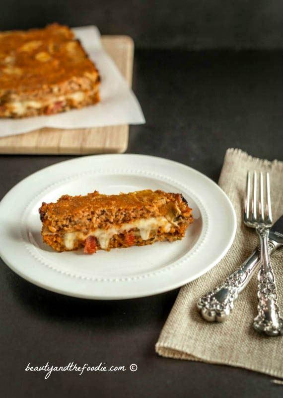 Bacon Mushroom Stuffed Turkey Meatloaf, grain free, low carb and paleo version #lowcarbmeatloaf #paleomeatloaf