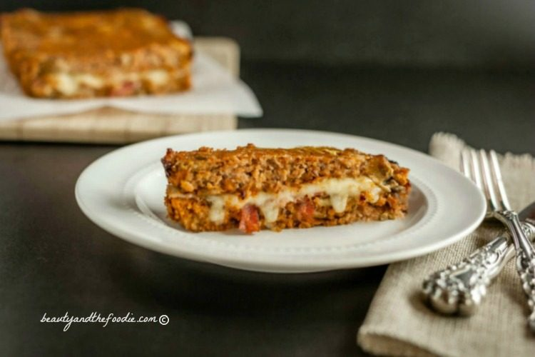 Bacon Mushroom Stuffed Turkey Meatloaf, grain free, low carb and paleo ...