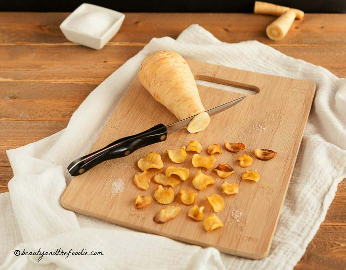 Baked Parsnip Chips paleo, low carb, and vegan