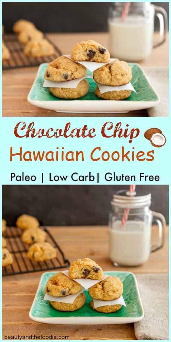 Chocolate Chip Hawaiian Cookies, grain free, paleo and low carb- chocolate chip coconut macadamia nut cookies