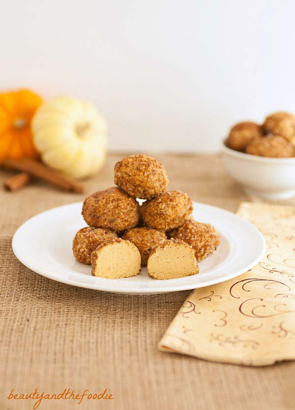No Bake Pumpkin Cheesecake Bites- Easy, Low carb, grain free and gluten free