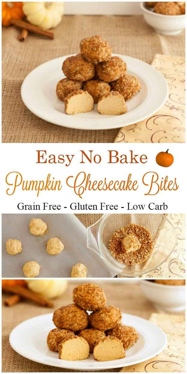 No Bake Pumpkin Cheesecake Bites- Grain free, low carb and gluten free
