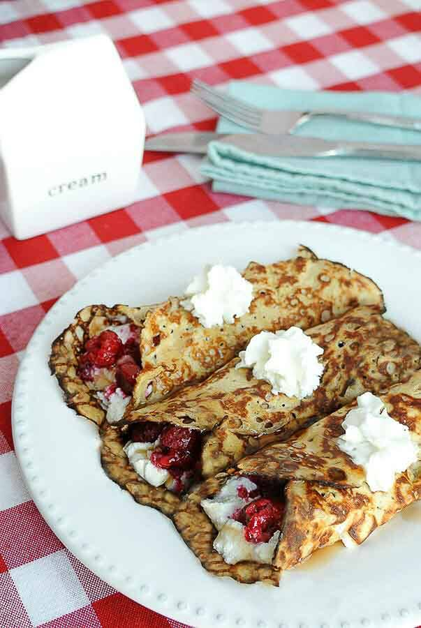 Raspberry Cream Crepes Low Carb and gluten free