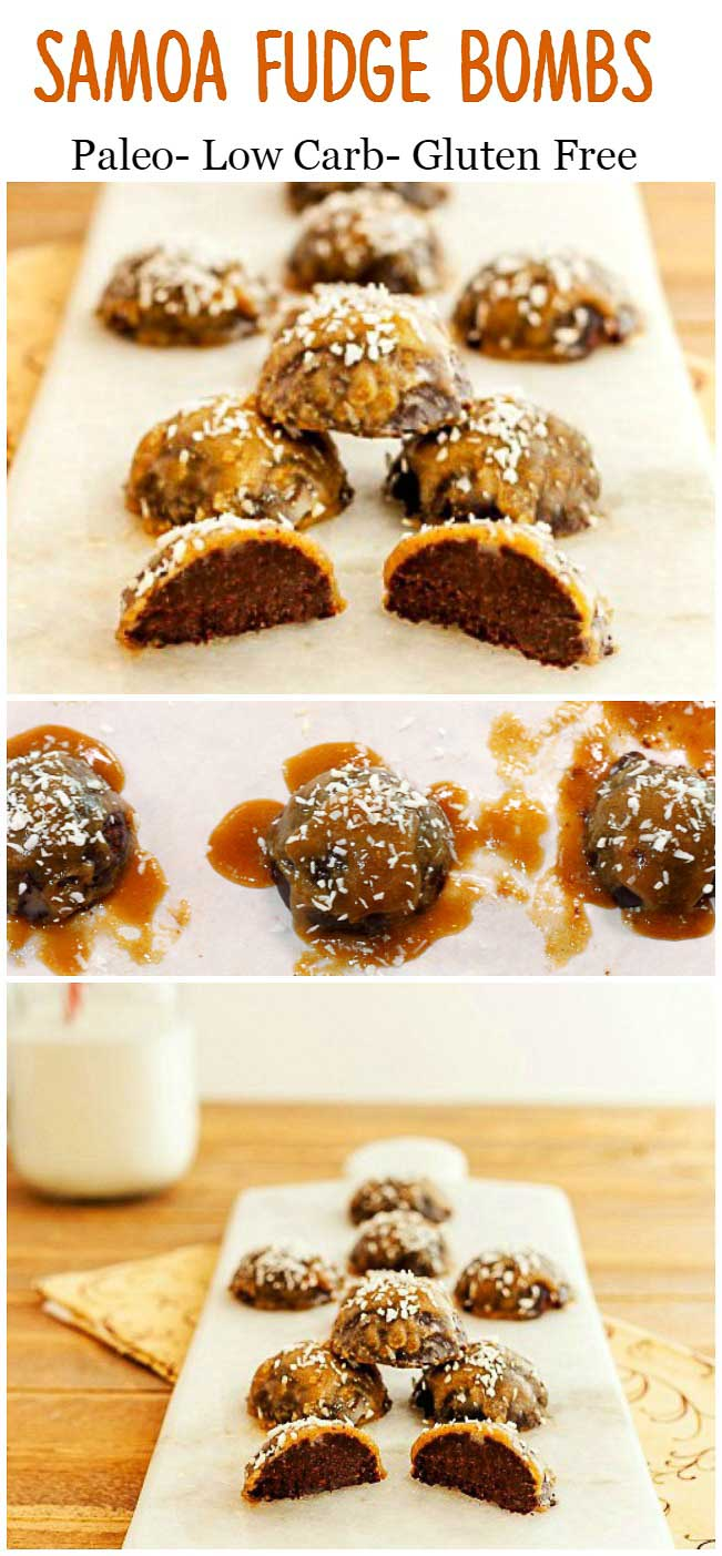 Samoa Fudge Bombs. Easy, paleo, low carb and keto.