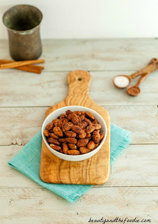 Cocoa Cinnamon Roasted Almonds - Paleo. Low Carb and Vegan.