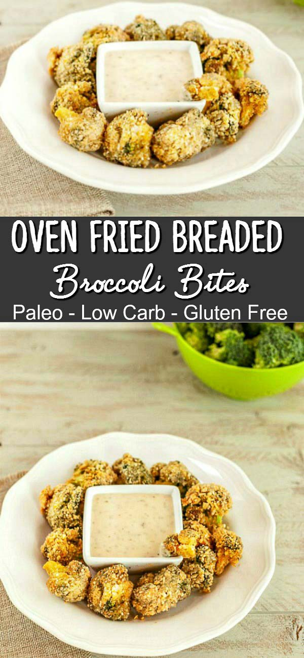 Oven Fried Breaded Broccoli Bites- Paleo, low carb and gluten free