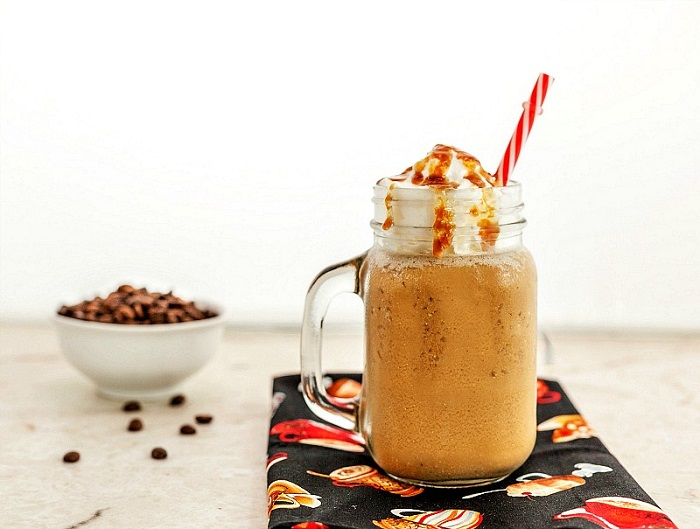 Vanilla Caramel Frappuccino Low carb with paleo version. A yummy, frosty, flavored coffee drink!