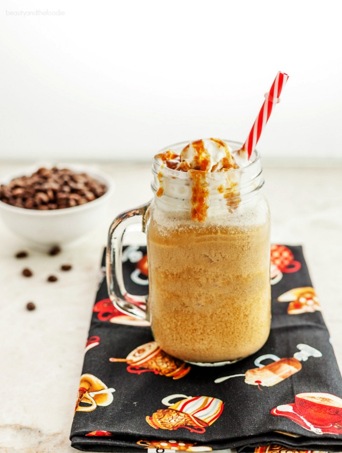 Vanilla Caramel Frappuccino Low carb with Paleo version. Gluten free, frosty, yummy beverage.