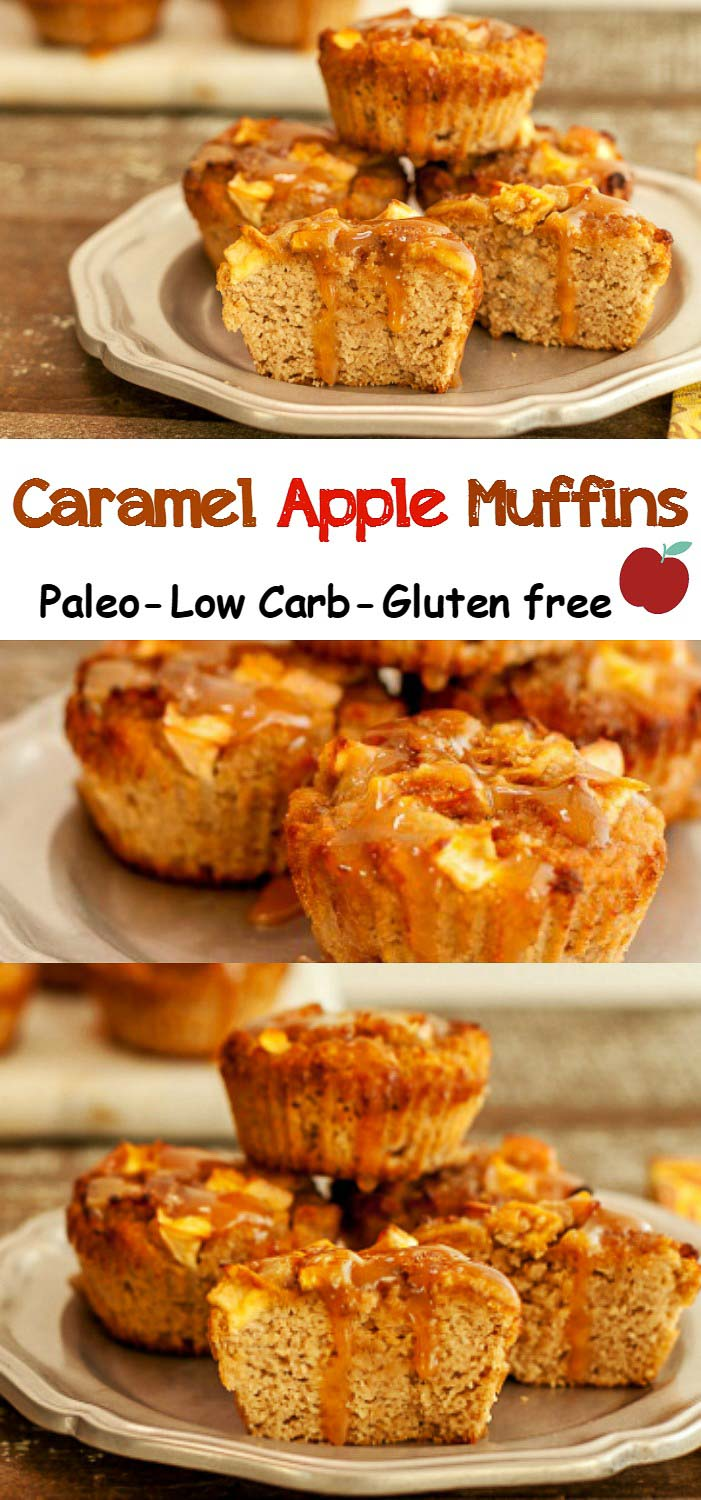 Caramel Apple Muffins- low carb, Keto and Paleo version. Delicious apple muffins with gooey caramel sauce.