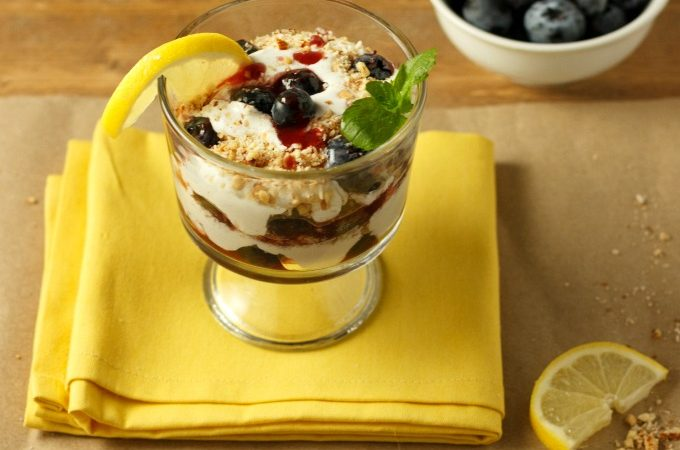 Easy Berry Lemon Cream Parfaits- Low Carb, no bake, paleo, gluten free, and vegan dairy free option.