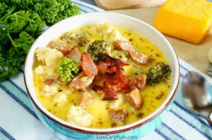 Broccoli Cauliflower Cheese sausage Soup, Low Carb Yum