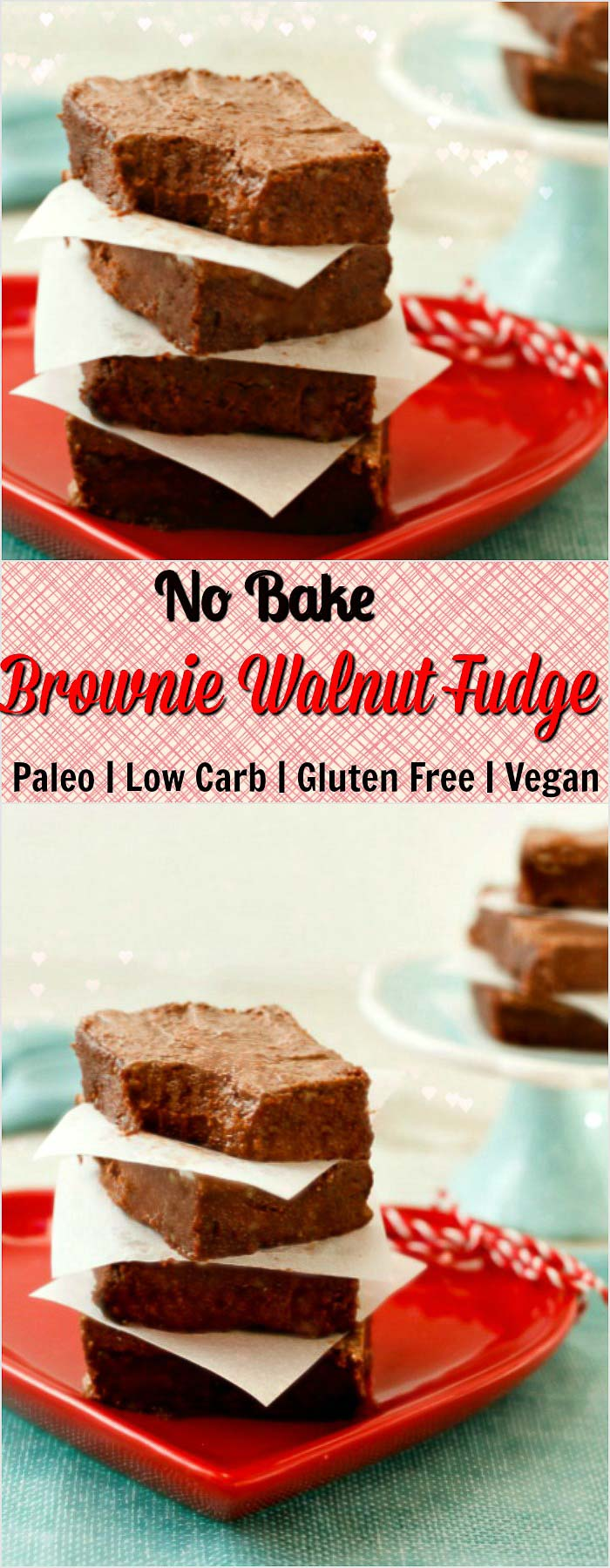 No Bake Frosted Brownie Walnut Fudge- paleo, low carb and vegan.