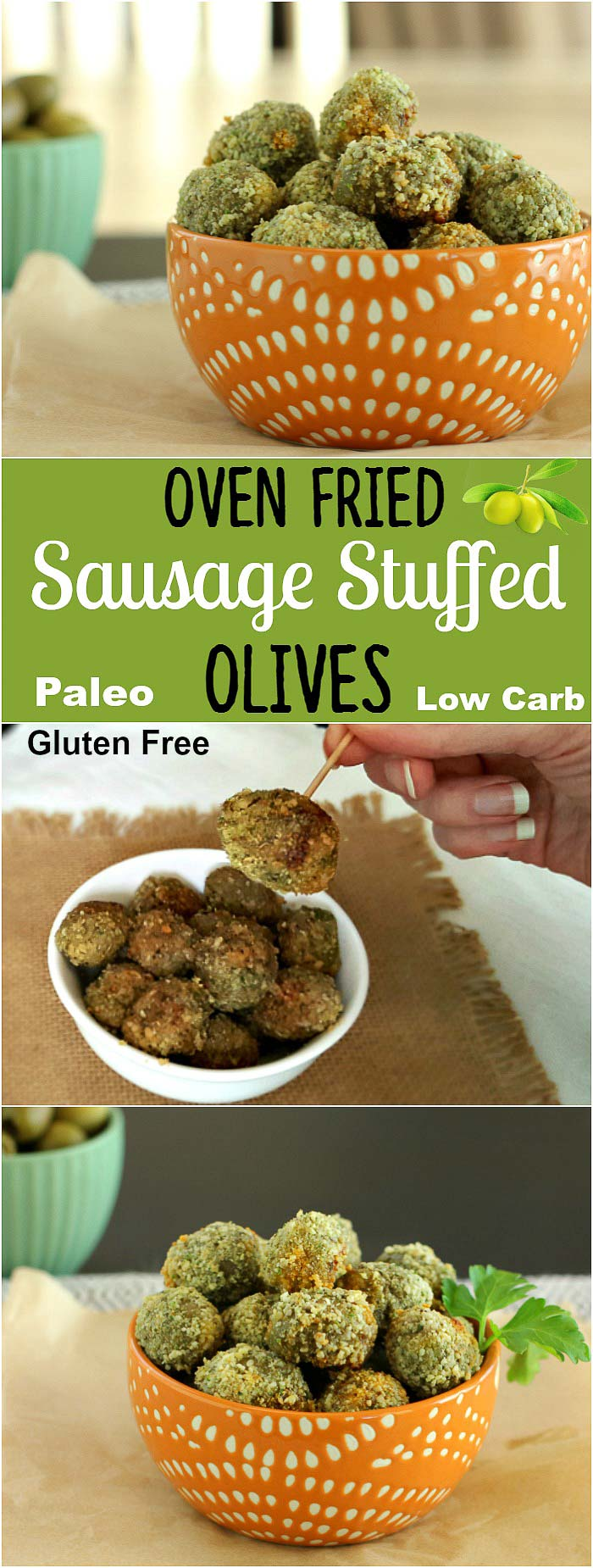 Oven Fried Stuffed Olives- Paleo, Low Carb & Gluten Free sausage stuffed olives that are gluten free breaded and oven fried.