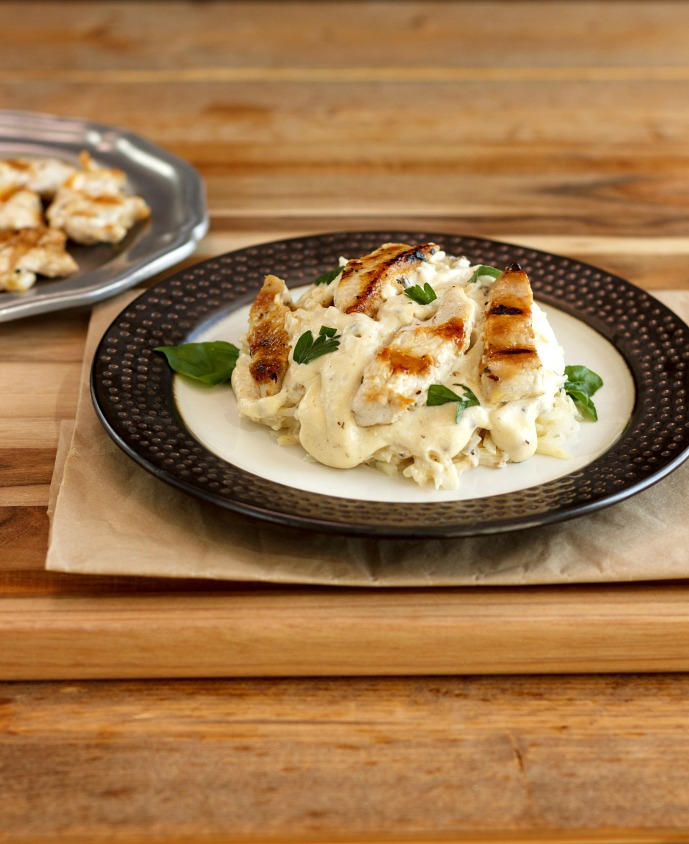 Grilled Chicken Alfredo Celeriac Noodles Low Carb & Gluten Free
